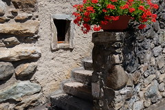 The stone steps (zinnia2012) Tags: medievalarchitecture steps window geranium wall yvoire france zinnia2012