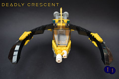 Deadly Crescent (Harding Co.) Tags: lego space spaceship scifi flying ship future yellow black wings cockpit rotate zombie minifigure minifigures minifigscale