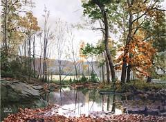 Autumn motive (mihail.zapasnyh) Tags: paintings landscape russia romantic realism watercolor