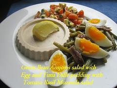 Green Bean Ansjovis salad with Egg and Tuna Dille pudding with Tomato Basil Mozerela salad (nadjadejong) Tags: food diner fish tuna pudding salad anchovis egg tomato mozerella basil green bean lemon