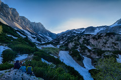 After a Long Day Hiking (hl_1001) Tags: austria styria hochschwab mountain snow hiking alps alpine alpinehut sunset bluehour hdr landscape