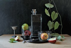 The Kingdom of Glass (Esther Spektor - Thanks for 12+millions views..) Tags: stilllife naturemorte bodegon stilleben naturamorta naturezamorta composition creativephotography arrangement artisticphoto tabletop trasparency bottle bowl vase food fruit appl slice knife vine leaf goblet tray glass metal water availablelight reflection green yellow red burgundy silver grey black estherspektor canon