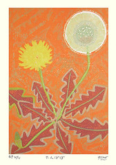 Dandelion (Japanese Flower and Bird Art) Tags: flower dandelion taraxacum asteraceae gashu fukami modern woodblock print japan japanese art readercollection