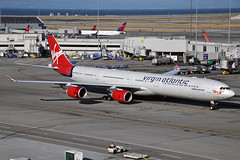 G-VYOU (Rich Snyder--Jetarazzi Photography) Tags: virginatlanticairways virginatlantic virgin vir vs airbus a340 a340600 a340642 a346 gvyou emmelineheaney departure departing sanfranciscointernationalairport sfo ksfo millbrae california ca airplane airliner aircraft jet plane jetliner ramptowera rcta atower
