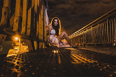 Wild. (Ludovic Mühlhauser) Tags: grl woman wife female feminity beauty nice ortrait bridge night body longhair ight artificial art artist artistry outside winter cold troyes aube france europe champagne world peace earth brotherhood friendship love canon canoneos70d urbex train urban street sensual sensuality glamour