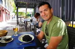 2017 SPM0071 Sam Duarte eating squid ink rice for lunch at Taberna De Pedro in Madrid, Spain (teckman) Tags: 2017 europe madrid samuelduarte spain comunidaddemadrid es