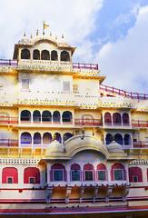 DSC_8760-Pano1 City Palace Jaipur India (camera30f) Tags: chandra mahal jaipur india architecture design day light color