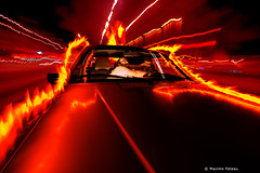Hide and seek (Photos + Fb : photographe.maximepateau) Tags: hide seek flames flammes feu fire fuego red rojo rouge yellow jaune amarillo photography photographie car carro coche voiture moving motion movement mouvement movimiento lightpainting light lumière strobist strobism strobisme night nuit noche photos plus city ville ciudad maxime pateau wow
