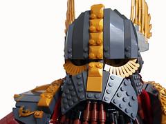 Grumpy face (Dwalin Forkbeard) Tags: moc lego dwarf warhammer fantasy total war thane warlord hammer maxifigure cape runes gold gromril medieval beer concept