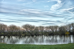 Evening Skies (jamesromanl17) Tags: nature landscape water grass outdoors tree reflection lake sky river horizontal dawn reflections pond waterfront trees skies sunset evening sunlight sigma dp2 merrill x3 foveon winter cheshire england britain countryside