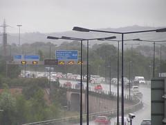 M60 East from Stockport (J_Piks) Tags: rain road motorway m60 traffic cars lampposts streetlighting streetlights stockport