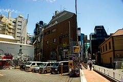 Away from the tourists 2 ツーリストがない2 (Shutter Chimp: Im back!) Tags: 渋谷 日本 ビル 道路 東京 渋谷区 japan shibuya building tokyo road street photography グラフィティ graffiti power line path blue sky back backstreet sign people 人 人々 ghetto 車 car 駐車場 carpark park parking