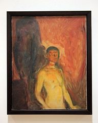 Self-Portrait in Hell, by Edvard Munch (JB by the Sea) Tags: sanfrancisco california july2017 urban financialdistrict sanfranciscomuseumofmodernart sfmoma painting edvardmunch expressionist expressionism