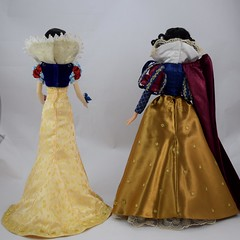 Original Limited Edition Snow White Doll vs D23 Snow White Doll - Standing Side By Side - Without Capes - Full Rear View (drj1828) Tags: d23 2017 expo purchases merchandise limitededition artofsnowwhite snowwhiteandthesevendwarfs snowwhite princess deboxed le1023 2009 17inch sidebyside standing comparison