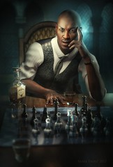 Your move (Mark Frost :)) Tags: chess game set board strategy portrait cg cgi daz studio iray render man male suit tie drink bottle 3d 3dmodel