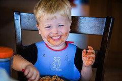 365 Project - July 17 (lupe1515) Tags: 365 project henry giggle spaghetti dinner messy