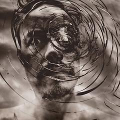 199 : 365 : VI (Randomographer) Tags: project365 human man self portrait selfie broken glass shattered perceptions iphone face tintype monotone 199 365 vi
