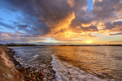 Newcastle Sunset (markwhitt) Tags: markwhitt markwhittphotography newcastle nsw australia newsouthwales sea ocean water sunset travel traveling clouds colors colorful shoreline outdoors vacation scenic scenery adventure nikon dramatic landscape