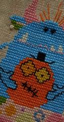 "Blue Ms.Monster (GATACA1952) Tags: ""crossstitch"" embroidery floss threads ornament decoration texture craft handmade dmc halloween spooky autumn fall holidays ""allhallow'seve"" hallowe'en beads millhill monster"