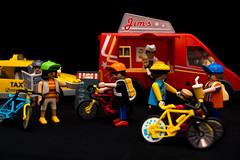 After the race (Lavawolf) Tags: playmobil fixie fixed toy doll food truck taxy taxi