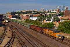 "Westbound Empty Welded Rail Train in Kansas City, MO (""Righteous"" Grant G.) Tags: up union pacific railroad railway locomotive train trains west westbound welded rail work kansas city missouri ge power"