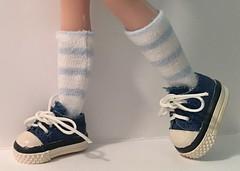 White With Baby Blue Stripes...Short Socks For Blythe...
