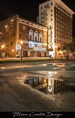 Jefferson Theater-3 (jesmo5) Tags: theater old cinema movie movies beaumont texas moorecreativedesign highdynamicrange architecture art artist reflection night nightscape long exposure twinkle street buildings building downtown marquee jefferson
