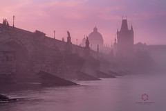 Foggy in Prague (Claudio Cantonetti) Tags: 2016 nikon architecture city claudiocantonetti czech europe light places prague summer travel urban claudio cantonetti powerful sunrise colors red orange river stones reflection sunset bridge landscape intense silhouette long exposition time dawn purple fog foggy pink