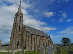 St James Church, Cruden Bay, Aberdeenshire, June 2017 (allanmaciver) Tags: cruden bay aberdeenshire north east coast country rural style architecture st james graves spire windows weather clouds trees