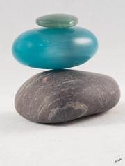 Macro Monday ~ Three (Jan Whybourne) Tags: macromonday three stones jade rock iridescent green blue grey teal smooth macro white balanced