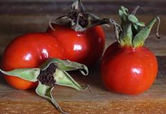 Three Rose Hips (ertolima) Tags: 3 macromondays three red rosehips