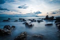 stone circus (alexandrechary) Tags: sunset seascape sea sun clouds rocks travel blue beach ocean outdoor longexposure landscape light nikon d750 1424mm water thailand asia