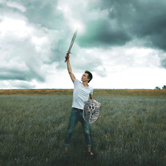 fight the good fight of faith (Dominik Kym) Tags: fight good faith sword colours boy photography conceptual portrait story telling