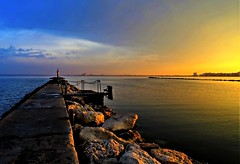 Sunset (Clare-White) Tags: roses catalonia sunset colours sea water pier jetty evening spain vacation june 1917 path light