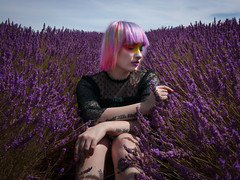 purple hills (siena2012) Tags: purple fashion editorial photoshoot natural light canon lavender fields flowers green pink bue makeup shoot
