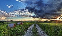 IMG_9282-84Ptzl1scTBbLGEM (ultravivid imaging) Tags: ultravividimaging ultra vivid imaging ultravivid colorful canon canon5dmk2 clouds farm fields stormclouds sunsetclouds scenic vista rural rainyday path evening pennsylvania pa panoramic painterly landscape summer sky road