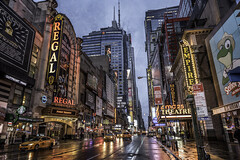 42nd Street/The Deuce (PetterPhoto) Tags: 42ndstreet manhattan newyork street city urban architecture travel tourist tourism yellowcab wet rainy morning night neonlights thedeuce stock theatres town downtown neon outdoors petterphoto pettersandell regal empire broadway