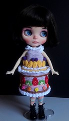 Candy getting ready for the Royal Ascot (Blythe's Tiny Worlds) Tags: doll custom crochet amigurumi blythe cake dress clothes fruit strawberry cherry kiwi sweets