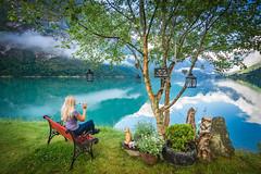 Sit down and just enjoy for a little while (Richard Larssen) Tags: richard richardlarssen richardlarssenphotography larssen landscape norway norge norwegen nature olden oldevatnet oldedalen sony scandinavia sel1635z stryn oppstryn sognogfjordane sogn fjordane tree lake bench