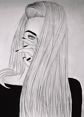 T u m b l r (Photeliart) Tags: drawing painting pencil paper blackandwhite girl woman squaw tumblr longhair hair hand fingers vernis varnish black eye pupille pupil eyebrow brow makeup eyelashes look eyeliner sweater blacksweater shadow byme face portrait