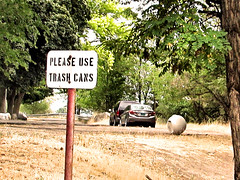 Please Use Garbage Cans (Eyellgeteven) Tags: sign funnysign signs humorous humor lettering letters words word garbage trash refuse tippedover irony ironic can trashcan garbagecan trashbin bin tree trees stencilled post signpost rust rusted rustyandcrusty rusty eyellgeteven