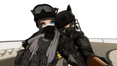 Battle Buddies :) (Iuved) Tags: second life secondlife ssoc guns rifles handguns shields riot shield nekomata kemono kemonomimi utilizator heterochromia white blue green eyes smile helmet body armor bullets bullet proof vest ears tail thigh highs tummies piercings tactical police training