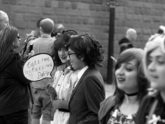 call me babe (slavamanc) Tags: comiccon funny city street dressup fancydress manchester urban monochrome blackwhite couple portrait boygirl candid festival anime gothic girl takumar