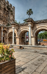 Hadrian's Gate + 1 (Anthony P26) Tags: antalya architecture category external flickrpost hdr kaleici places turkey architecturephotography travelphotography streetanimals arches arch romanarchitecture columns towers tower ancientarchitecture sky bluesky historic canon1585mm canon70d canon pavement paving plant palmtrees outdoor