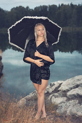 (Øyvind Bjerkholt (Thanks for 41 million+ views)) Tags: umbrella rain wet landscape lake nature water sexy beautiful gorgeous pretty blonde woman girl female she canon dof outdoors elegance classy fashion glamour portrait arendal norway