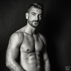 Model: Saša (WF portraits) Tags: srb model male portrait studio naked nude shaven chest hairy arms beard blackandwhite monochrome white black look gaze muscles fitness gym