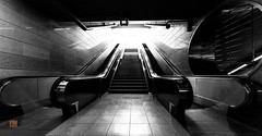 follow the light... (Ntino Photography) Tags: noir mono monochrome blackandwhite bw esc escalator stairs metrostation athens egaleo greece attica canoneos5dmarkiii light