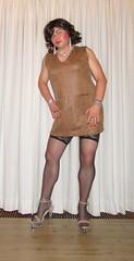 little suede dress (Barb78ara) Tags: dress suede suededress minidress stockings nylon nylons nylonstockings sandals stilettoheels stilettohighheels stilettosandals leather leatherdress