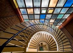 Stairs in front of colorful window(s) (rainerralph) Tags: architecture franken architektur frankonia treppe stair staircase omdem1markii germany bavaria stairwai deutschland bayern objektiv714pro nürnberg