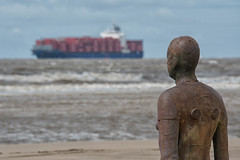 Watching The Ships Sail By (Malc H) Tags: crosby crosbybeach anotherplace anthonygormley liverpool albertdocks beach sculptures coast ships waves sand sanddunes